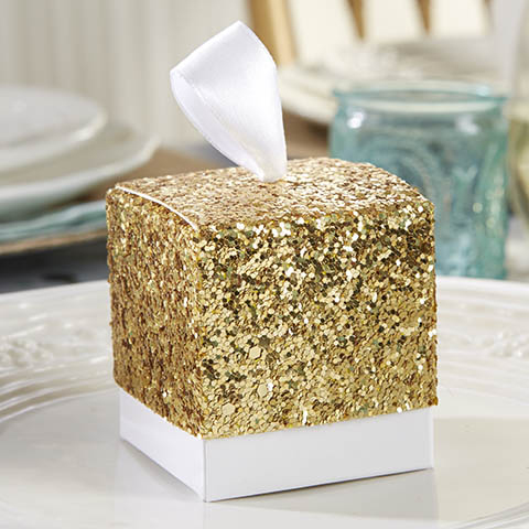 All That Glitters Gold Glitter Favor Boxes