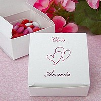 2 x 2 Favor box personalized with Metallic Red imprint, two lines of print in Formal Script lettering style, and H17 design with special instructions to place after Line 1 print