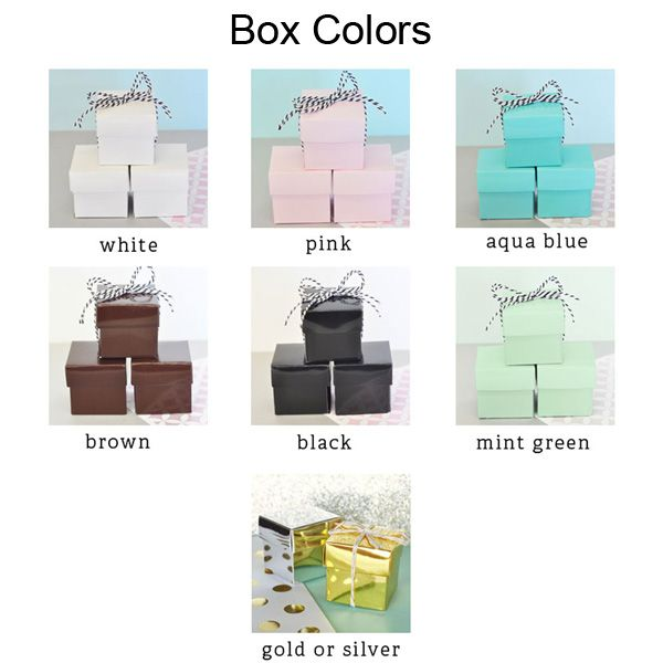 Choose from 8 glossy box colors including white, pink, aqua blue, brown, black, mint green, gold, and silver