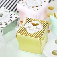 2 inch square glossy favor boxes with personalized metallic labels
