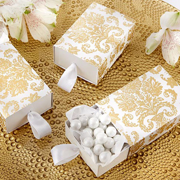 Gold damask design drawer pull style favor boxes