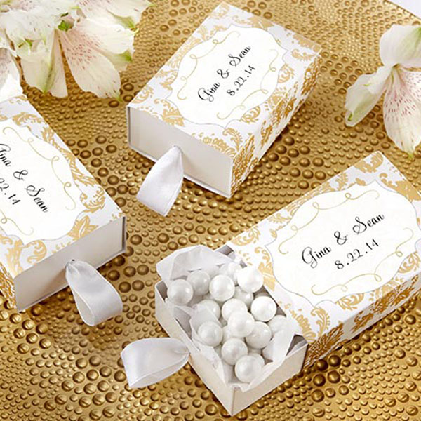 Timeless gold damask design favor boxes with matching personalized sticker