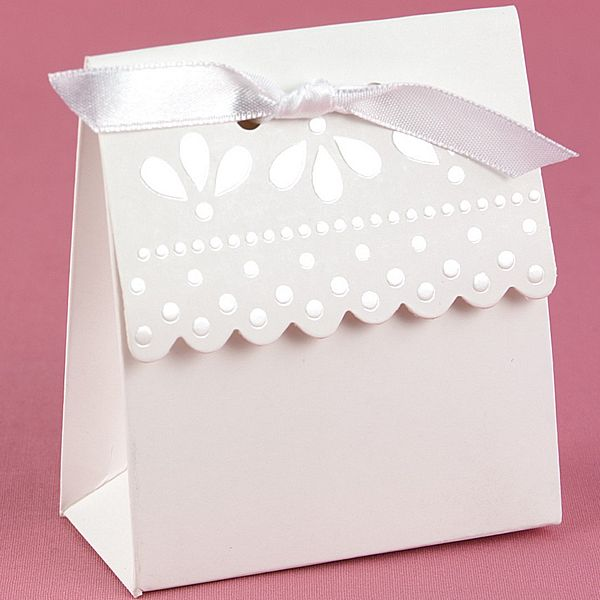 White 3 inch by 3 inch scalloped edge favor boxes with peral embossed design