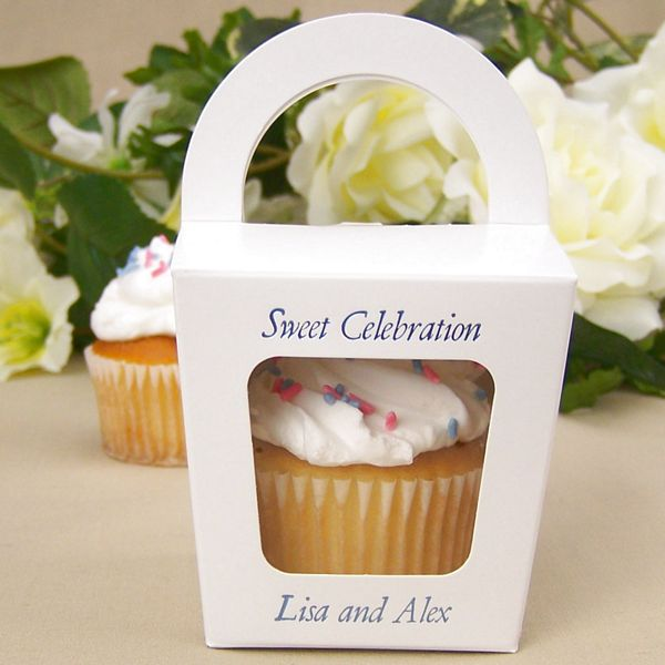 White cupcake favor box with square cellophane window personalized with Garamond Italic letter style and Periwinkle Satin imprint color