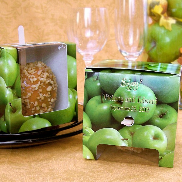 4 X 4 Personalized Green Granny Smith Apples Candy Apple Favor Boxes