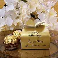 Small Antique Gold bow top favor box printed with Ebony Matte imprint, VW50 wedding design, and two lines of print in Florentine Cursive lettering style