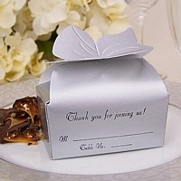 Personalized large silver bow top favor box printed with Ebony Matte imprint and three lines of print in Florentine Cursive lettering style