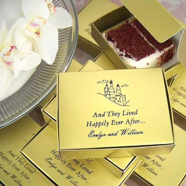 Personalized antique gold cake box printed with Ebony Matte imprint color, FT7 design, and three lines of text in Garamond Italic and Formal Script lettering styles