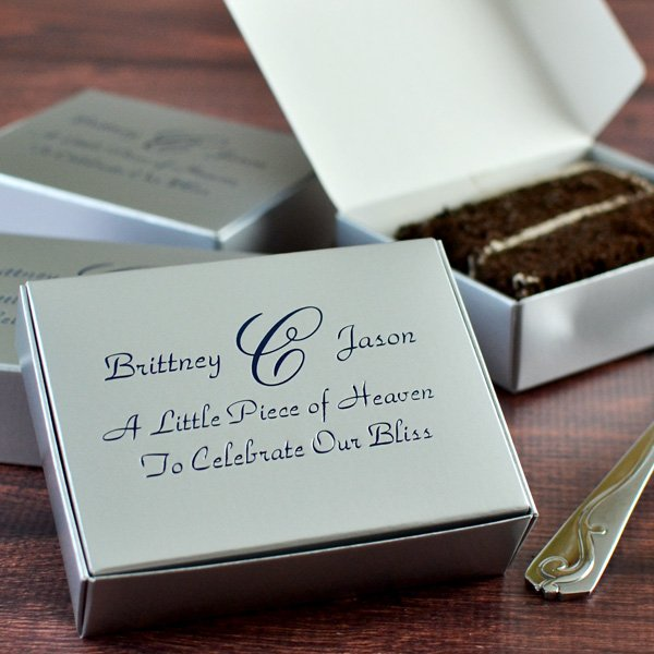 Silver cake box printed with PAB monogram, Park Avenue letter style, and Very Navy Matte imprint color.