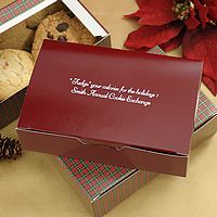 Burgundy and plaid gift boxes printed with White Matte imprint color and two lines of text in Mayfair Cursive lettering style