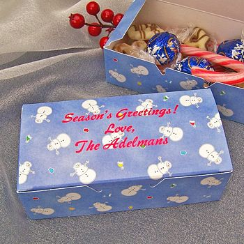 Personalized snowman candy box printed with Ruby Satin imprint and three lines of print in Wave lettering style