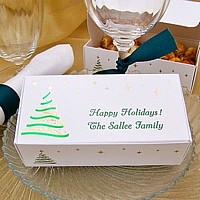 Personalized Christmas tree candy boxes printed with Emerald Satin imprint and two lines of print in Cheltenham lettering style