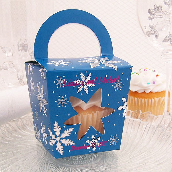 Personalized Holiday Snowflake Cupcake Boxes With Handles