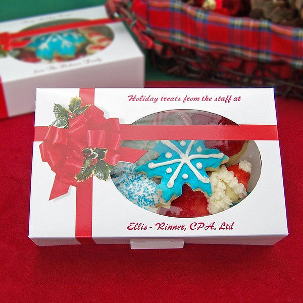 Personalized Christmas treat boxes printed with Ruby Satin imprint and two lines of print in Wave lettering style