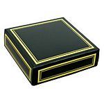 Black favor box lid with metallic gold edge