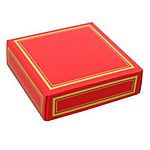 Red favor box lid with metallic gold edge