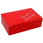 Red with Seasons Greetings Christmas gift box