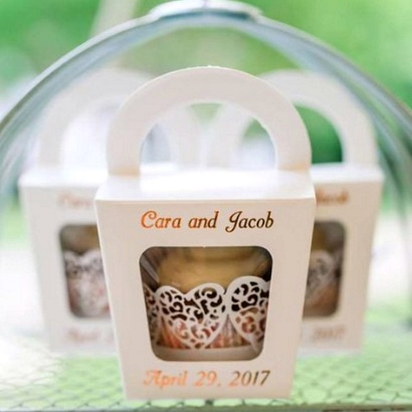 Cupcakes in handle top favor boxes personalized with names and wedding date