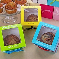 Personalized jumbo cupcake boxes with square windows in assorted colors