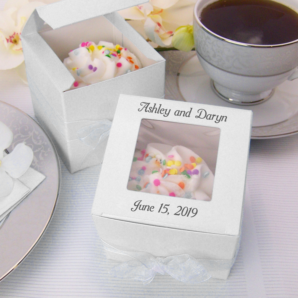 Personalized individual cupcake favor boxes in assorted color options