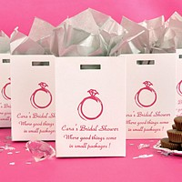 White tote bag favor box printed with raspberry matte imprint design WD28 and Park Avenue letter style