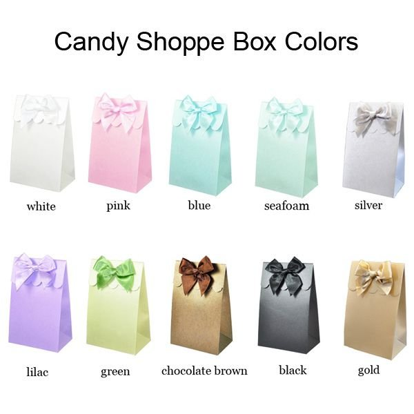Choose from 10 box colors including white, pink, blue, seafoam, silver, lilac, green, chocolate brown, black, and gold