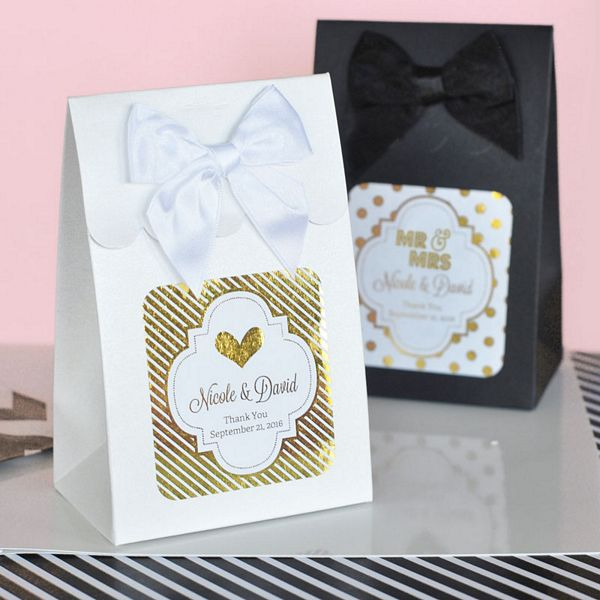 Sweet shoppe candy favor boxes with personalized metallic labels