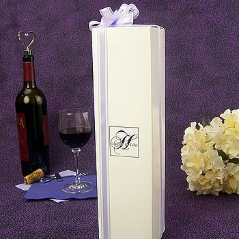 White wine box printed with customer provided artwork and black imprint color