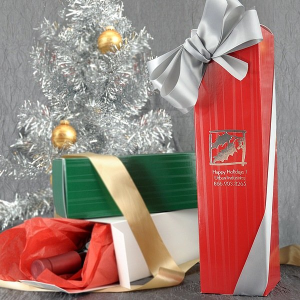 personalized wine bottle gift boxes with holiday designs