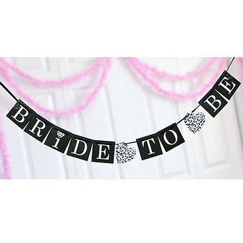 Black and white Bride to Be bridal shower banner with damask heart accents