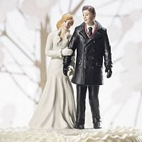 Winter Wonderland Wedding Couple Figurine Cake Topper