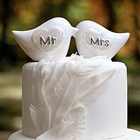 Mr and Mrs Porcelain Love Birds Wedding Cake Topper
