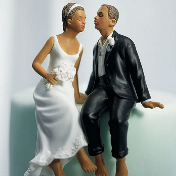 Ethnic 'Sitting Sweethearts' Bride and Groom Cake Topper