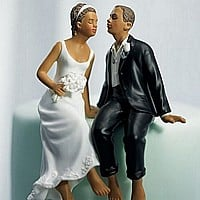 Ethinic bride and groom wedding cake toppers