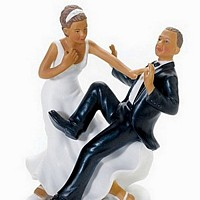 Ethnic 'Taking the Plunge' Comical Bride and Groom Cake Topper