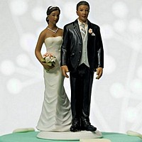 Ethnic 'Love Pinch' Bride and Groom Cake Topper