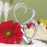 Silver plated double hearts with rhinestone accents