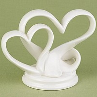 Double heart porcelain wedding cake topper