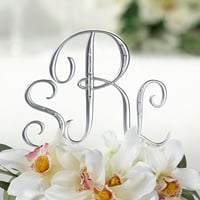 Small silver monogram letter cake topper picks shown with letters S and J