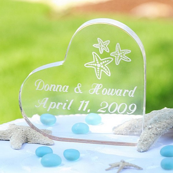 Personalized Beach Wedding Acrylic Heart Cake Topper