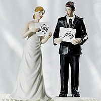 'Read My Sign' Bride and Groom Figurine Cake Topper