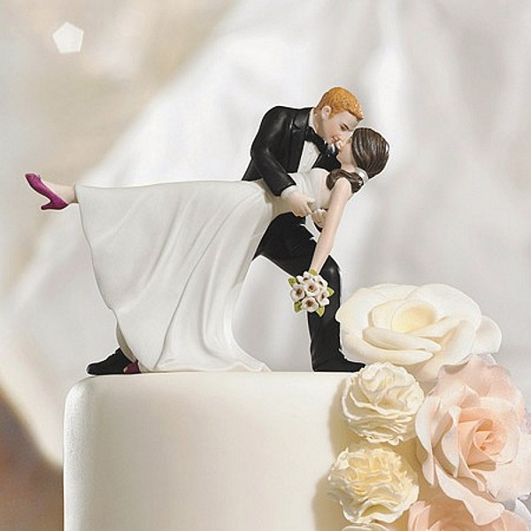 Romantic Dip Cake Topper with Bride Wearing Fuchsia Shoes