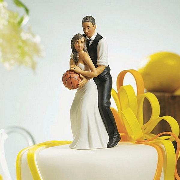 Ethnic Basketball Dream Team Bride and Groom Figurine Cake Topper