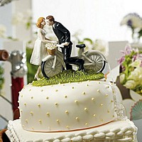 'Kiss Me' Bicycle Bride and Groom Figurine Cake Topper