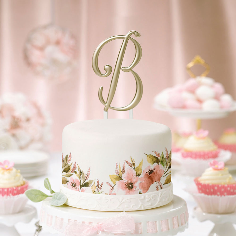 5 Inch Gold Single Initial Monogram Wedding Cake Topper