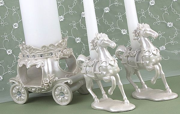 Horses And Carriage Cinderella Wedding Unity Candle Holder Set