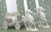 Horse and carriage unity candle stand set for Cinderella and Fairy Tale Themed Weddings