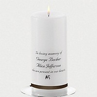 Personalized memorial candle banded with chocolate brown ribbon