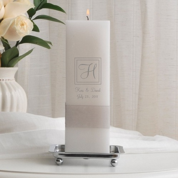 empire personalized square white wax unity candle with silver stand