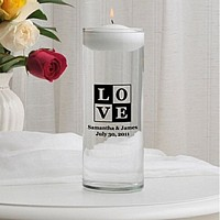 Glass unity cylinder custom printed with T18 - Love design, bride and groom's names and wedding date in Black ink color